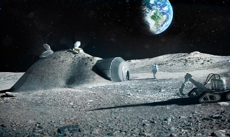 A handout artist impression released by the European Space Agency showing a lunar base made with 3D printing (AFP Photo/BERNARD FOING)