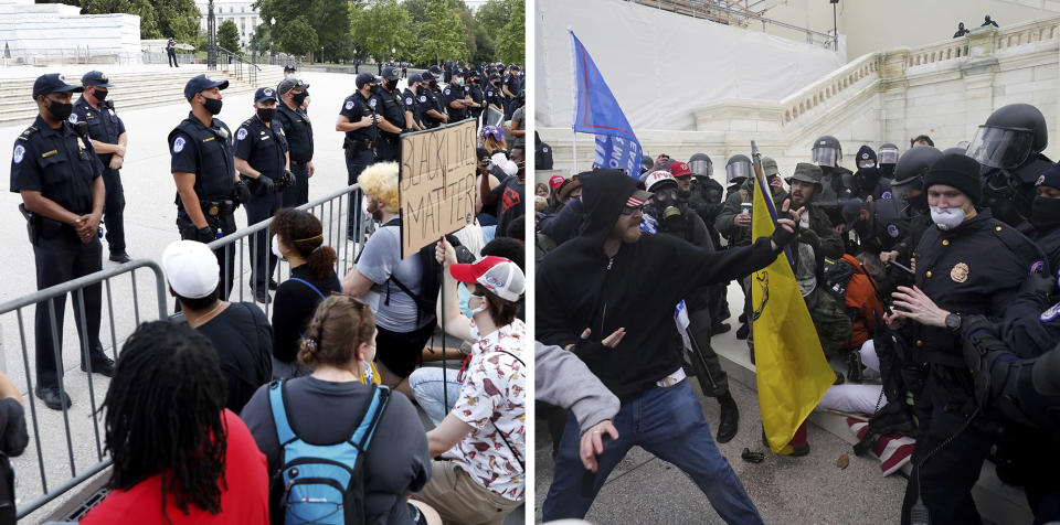 In this combination of photos, on June 3, 2020, demonstrators, left, protest the death of George Floyd at the U.S. Capitol in Washington and Trump supporters try to break through a police barrier Jan. 6, 2021, at the same location. Some charged in the Jan. 6 riot at the U.S. Capitol as well as their Republican allies claim the Justice Department is treating them harshly because of their political views. They also say those arrested during last year's protests over racial injustice were given leniency. Court records tell a different story. An Associated Press review of court documents in more than 300 federal cases stemming from the protests sparked by George Floyd's death last year shows that dozens of people charged have been convicted of serious crimes and sent to prison. (AP Photos)