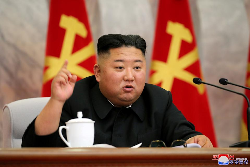 North Korean leader Kim Jong Un speaks during the conference of the Central Military Committee of the Workers' Party of Korea in this image released by North Korea's Korean Central News Agency (KCNA) on May 23, 2020. KCNA via REUTERS    ATTENTION EDITORS - THIS IMAGE WAS PROVIDED BY A THIRD PARTY. REUTERS IS UNABLE TO INDEPENDENTLY VERIFY THIS IMAGE. NO THIRD PARTY SALES. SOUTH KOREA OUT. NO COMMERCIAL OR EDITORIAL SALES IN SOUTH KOREA.     TPX IMAGES OF THE DAY