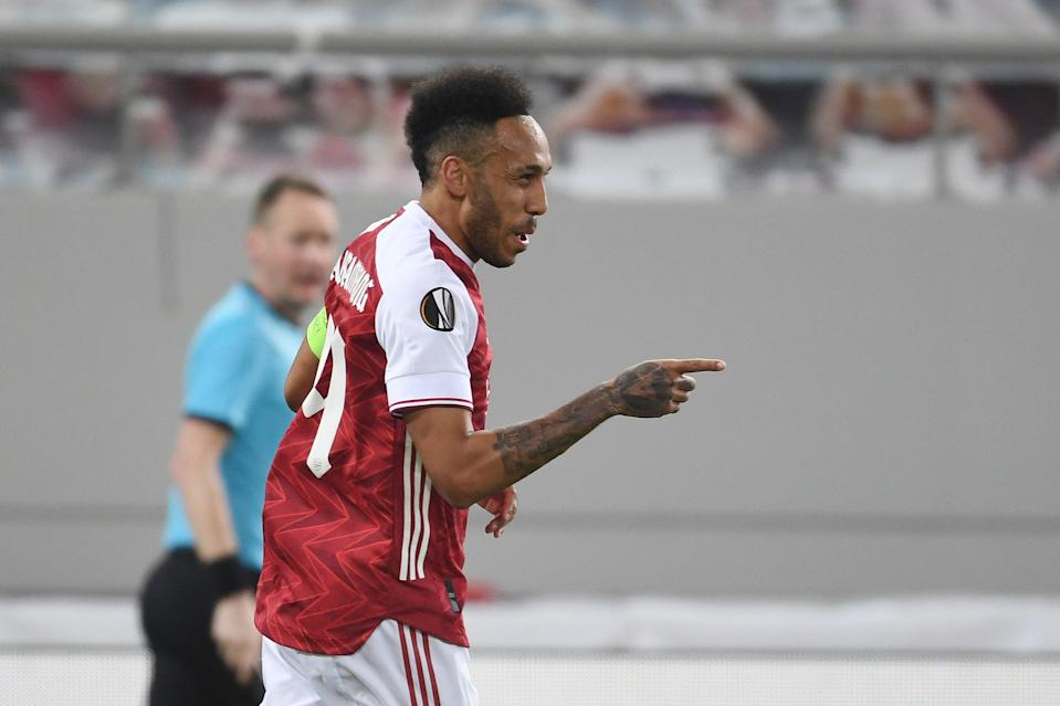 <p>Match-winner: Arsenal captain Pierre-Emerick Aubameyang was influential in Athens</p> (Arsenal FC via Getty Images)