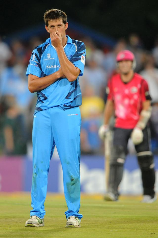 PRETORIA, SOUTH AFRICA - OCTOBER 26: (SOUTH AFRICA OUT) CJ Villiers of Nashua Titans looks dejected after his teams loss during the Karbonn Smart CLT20 Semi Final match between Nashua Titans and Sydney Sixers at SuperSport Park on October 26, 2012 in Pretoria, South Africa. (Photo by Lee Warren/Gallo Images/Getty Images)