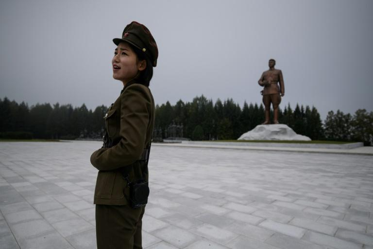 A statue of late North Korean leader Kim Il Sung overlooks the city of Samjiyon, a monumental project ordered by his grandson -- current leader Kim Jong Un (AFP Photo/Ed JONES)