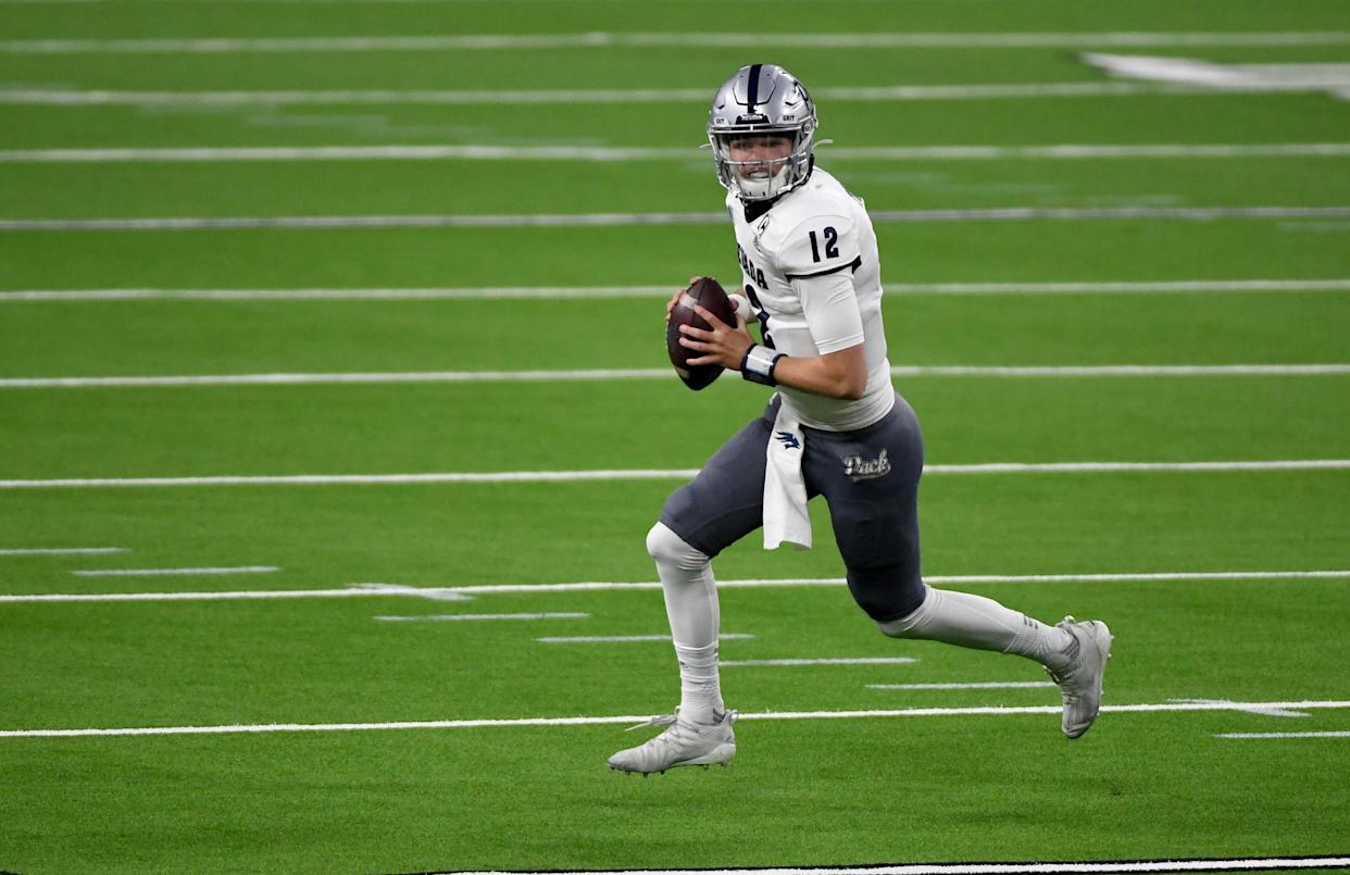 Nevada quarterback Carson Strong has a terrific test at Kansas State this weekend. (Photo by Ethan Miller/Getty Images)