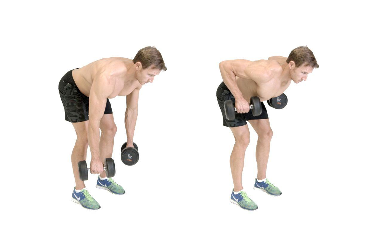 <p>Holding dumbbells across your thighs, hinge at your hips so your torso is facing the floor, and straighten your arms so the dumbbells are hanging just above the ground (<strong>A</strong>). From here, row the weights into your hips (<strong>B</strong>), thinking about pulling your shoulders back before calling on your arms to complete the rep. Lower under control. </p>