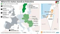 Map showing parliaments and states that have recognised Palestine