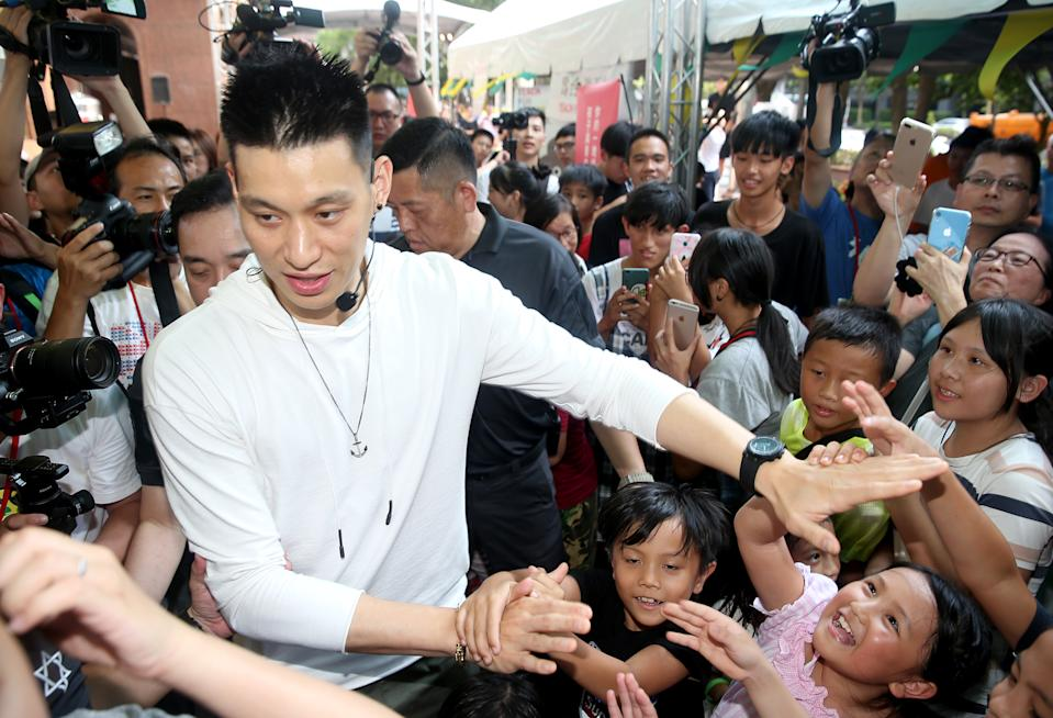 TAIPEI, CHINA - JULY 28: Jeremy Lin of the Toronto Raptors meets fans on July 28, 2019 in Taipei, Taiwan of China. (Photo by Unioncom/Visual China Group via Getty Images)