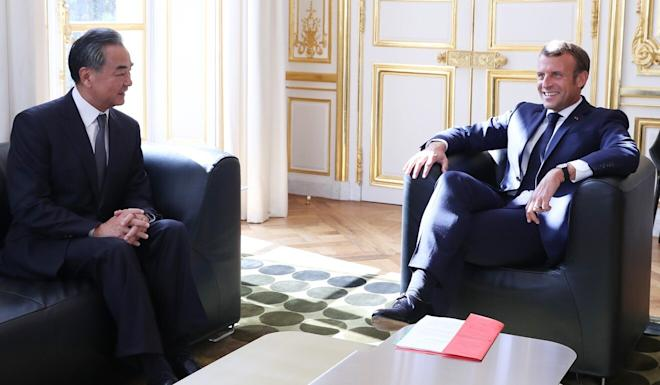 French President Emmanuel Macron (right) meets with Chinese Foreign Minister Wang Yi at the Elysee Palace in Paris last week. Photo: Xinhua