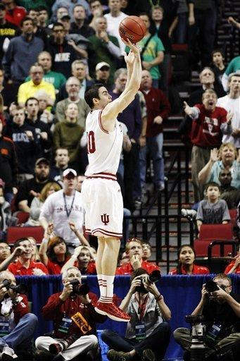 Indiana forward Will Sheehey (10) takes the game-winning shot against Virginia Commonwealth in the second half of an NCAA college basketball tournament third-round game in Portland, Ore., Saturday, March 17, 2012. Indiana won 63-61. (AP Photo/Rick Bowmer)