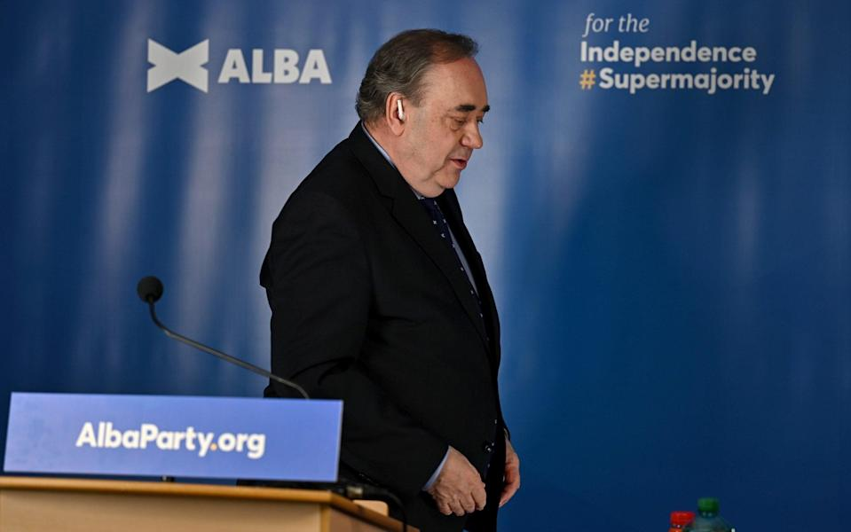 Former First Minister Alex Salmond speaks during the Alba Party campaign launch on April 6 - Jeff J Mitchell/Getty Images Europe