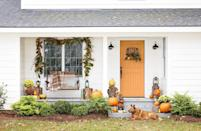 <p>Start with a tobacco basket base and layer fall foliage and pumpkins on top for a sure-fire winner!</p><p><strong>Make the wreath:</strong> Using floral wire, secure bundles of magnolia leaves, bittersweet vines, and faux pumpkins or gourds to the lower half of a square tobacco basket. </p>