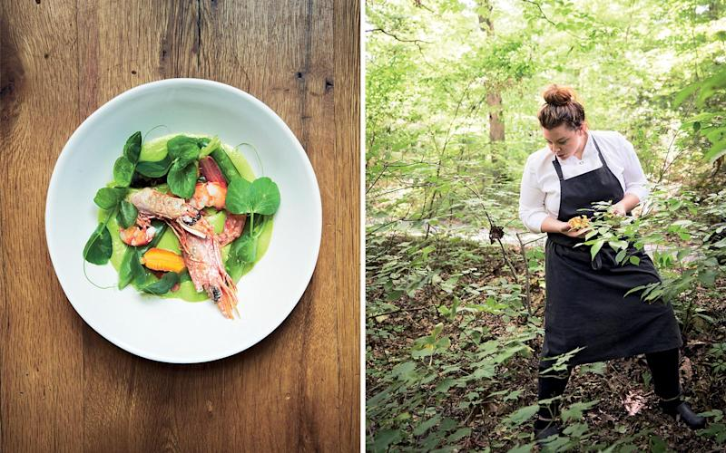 From left: Royal red shrimp with green pea curry at Blackberry Mountain's Three Sisters restaurant; Cassidee Dabney, executive chef at the Barn at Blackberry Farm. | Marcus Nilsson