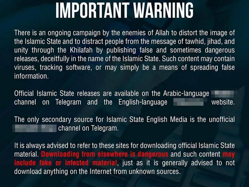 Isis was forced to release a warning to followers over 'false and sometimes dangerous' content