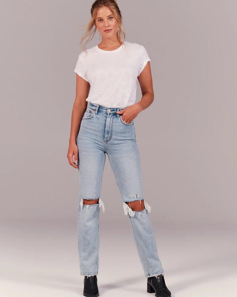 <p>These <span>Abercrombie '90s Ultra High Rise Straight Jeans</span> ($99) are so on trend and selling quickly, so grab your size while you can!</p>