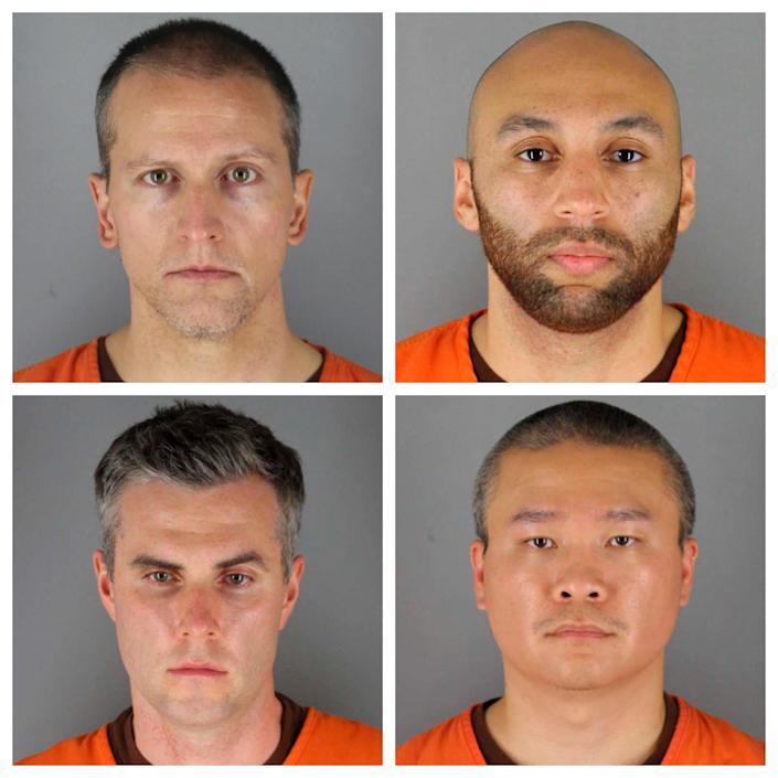 This combination of photos provided by the Hennepin County Sheriff's Office in Minnesota on June 3 shows, clockwise from top left, Derek Chauvin, J. Alexander Kueng, Tou Thao and Thomas Lane. The officers were charged in the death of George Floyd, a Black man who died after being restrained by Chauvin on May 25.