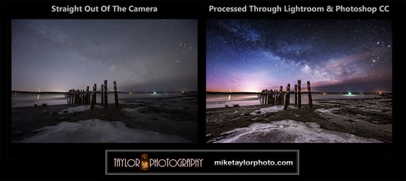 Astrophotographer Mike Taylor used careful image processing technique to transform the raw image on the left to produce the sharper, brighter image on the right.