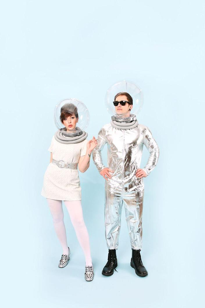 """<p>Pay everyone at your Halloween party a visit from the future with these shiny, futuristic getups.</p><p><strong><em><a href=""""https://keikolynn.com/2017/10/halloween-couples-costume-ideas/"""" rel=""""nofollow noopener"""" target=""""_blank"""" data-ylk=""""slk:Get the tutorial at Keiko Lynn"""" class=""""link rapid-noclick-resp"""">Get the tutorial at Keiko Lynn</a>. </em></strong></p>"""