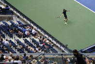 Alexander Zverev, of Germany, returns a shot to Sam Querrey, of the United States, during the first round of the US Open tennis championships, Tuesday, Aug. 31, 2021, in New York. (AP Photo/John Minchillo)