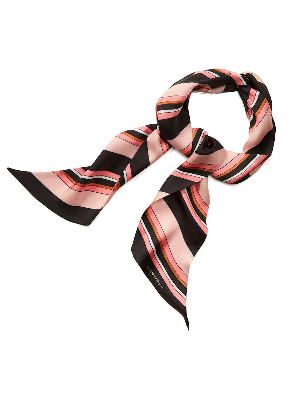 """<p>Kate Spade silk head scarf – £55.00</p><p><a class=""""link rapid-noclick-resp"""" href=""""https://go.redirectingat.com?id=127X1599956&url=https%3A%2F%2Fwww.katespade.co.uk%2Fen-gb%2Faccessories%2Faquatic-stripe-twisted-head-scarf%2FKS1002995.html%3Fdwcolor%3DBLACK%26dwsize%3D484_ONE&sref=https%3A%2F%2Fwww.elle.com%2Fuk%2Ffashion%2Fwhat-to-wear%2Farticles%2Fg31862%2Fthe-10-items-you-need-in-your-capsule-holiday-wardrobe%2F"""" rel=""""nofollow noopener"""" target=""""_blank"""" data-ylk=""""slk:SHOP NOW"""">SHOP NOW</a></p><p>While wide-brimmed straw hats might look louche and elegant, but they're also really impractical when it comes to packing (your favourite Jacquemus will no doubt emerge shapeless once it's been squashed into the depths of your suitcase). For summer 2021 everyone's swapping their headgear for a bandana instead. Buy a silky scarf now in a bold print and you can style it in myriad ways: as a headband, neckerchief, bracelet, bag strap, bandeau top or a belt.</p>"""