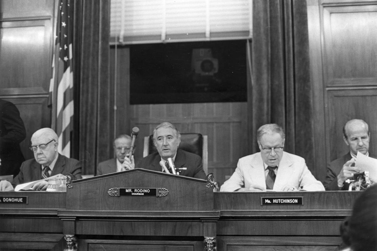 29th July 1974: The Judiciary Committee Impeachment Panel gathered to hear evidence in the Watergate affair, eventually leading to the impeachment of President Nixon. From left to right, Donohue, Rodino and Hutchinson. (Photo by Keystone/Getty Images)