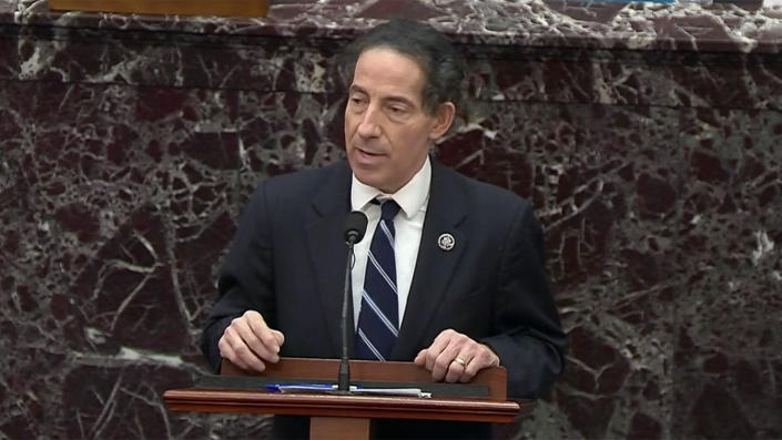 Rep. Jamie Raskin, D-Md., the lead impeachment manager, gives his closing argument during the second Senate impeachment trial of former President Donald Trump. (Reuters Video)
