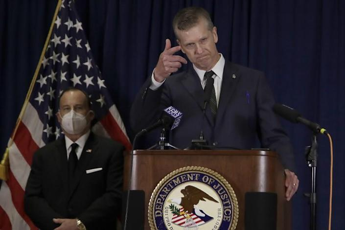 "David L. Anderson, U.S. attorney for the Northern District of California, announces at a news conference Tuesday the charges brought in the shooting deaths of two officers. <span class=""copyright"">(Ben Margot / Associated Press)</span>"