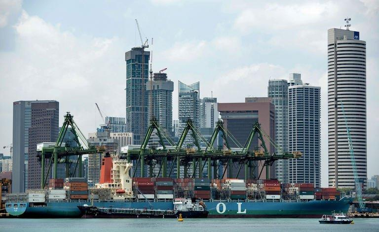 A view of the Keppel container port terminal in Singapore, pictured on February 22, 2013