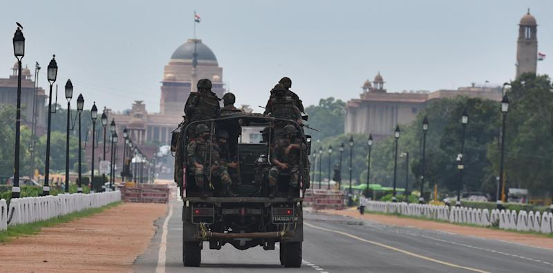 Army personnel patrolling Rajpath on August 24, 2020 in New Delhi, India. (Photo by Raj K Raj/Hindustan Times via Getty Images)