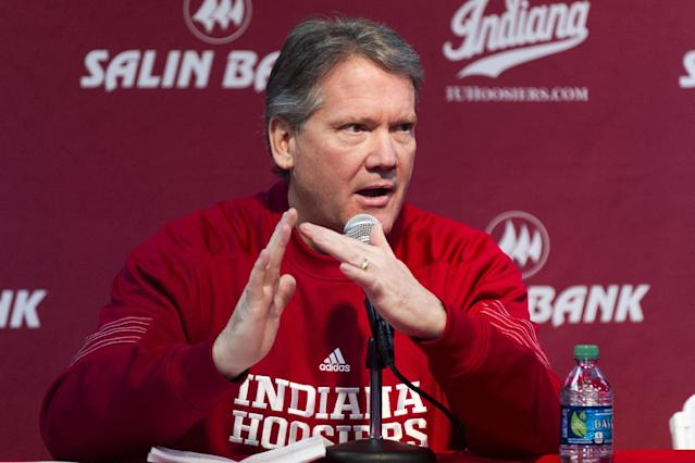 Fred Glass, vice president and director of intercollegiate athletics at Indiana University, describes the measures the school has taken in repairing Assembly Hall following an incident last week where a piece of the ceiling crashed into the seats hours before a men's game, Thursday, Feb. 27, 2014, in Bloomington, Ind. Structural engineers have inspected the building and deemed it safe. Indiana plays Iowa in an NCAA college basketball game that was originally scheduled for Feb. 19. (AP Photo/Doug McSchooler)