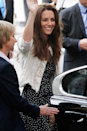 <p>Aaaand here's Kate the day before her wedding to Prince William in April 2011, wearing a low-key homage to her soon-to-be mother-in-law. </p>