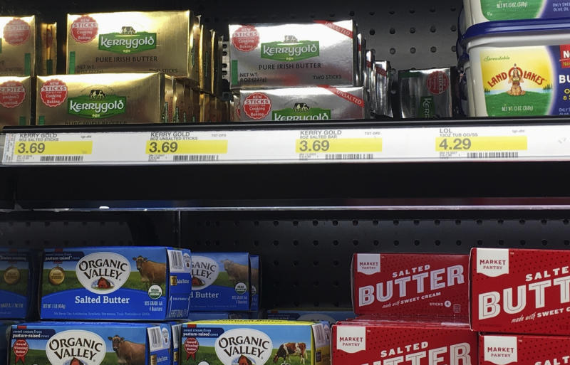 This March 3, 2017, photo, shows packages of Kerrygold Irish butter on a shelf at a store in Waukesha, Wis. A handful of Wisconsin residents has filed a lawsuit challenging a 1953 state law that bans the sale of Kerrygold Irish butter, or any other butter that hasn't been graded for quality. While retailers have been issued letters reminding them of the law, Kerrygold butter occasionally finds its way to store shelves in Wisconsin.  (Larry Avila/Wisconsin State Journal via AP)