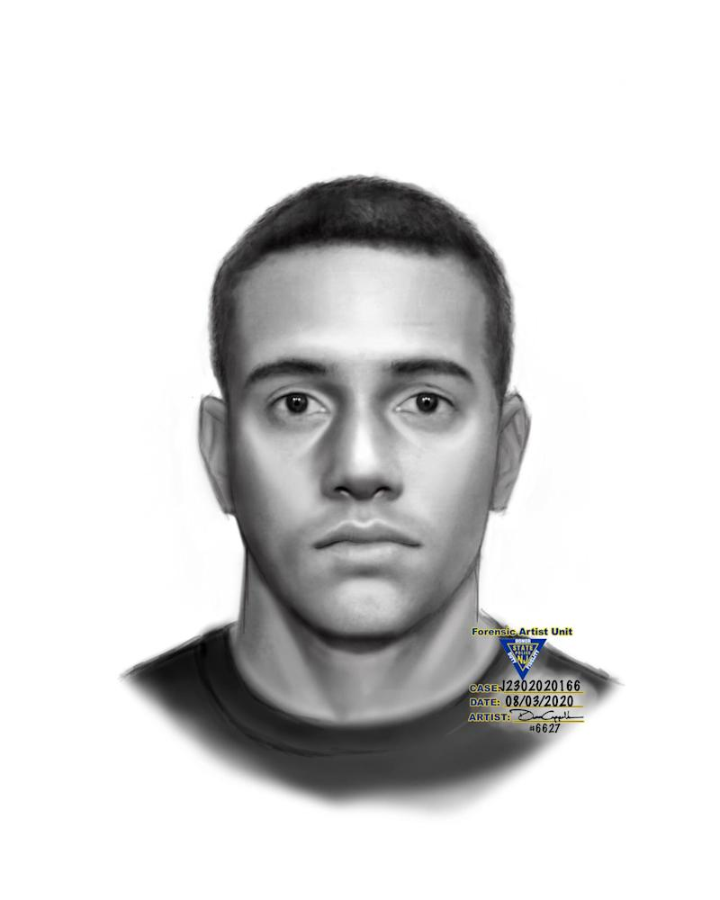 The sketch of a suspect who police say robbed reality TV personality Jonathan Cheban at gunpoint in Englewood Cliffs on Sunday, August 2.