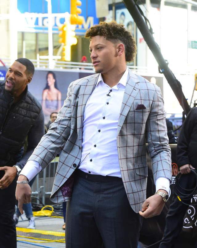 NFL Player Patrick Mahomes is seen on the set of GMA Day on April 2, 2019 in New York City. (Photo by Raymond Hall/GC Images)