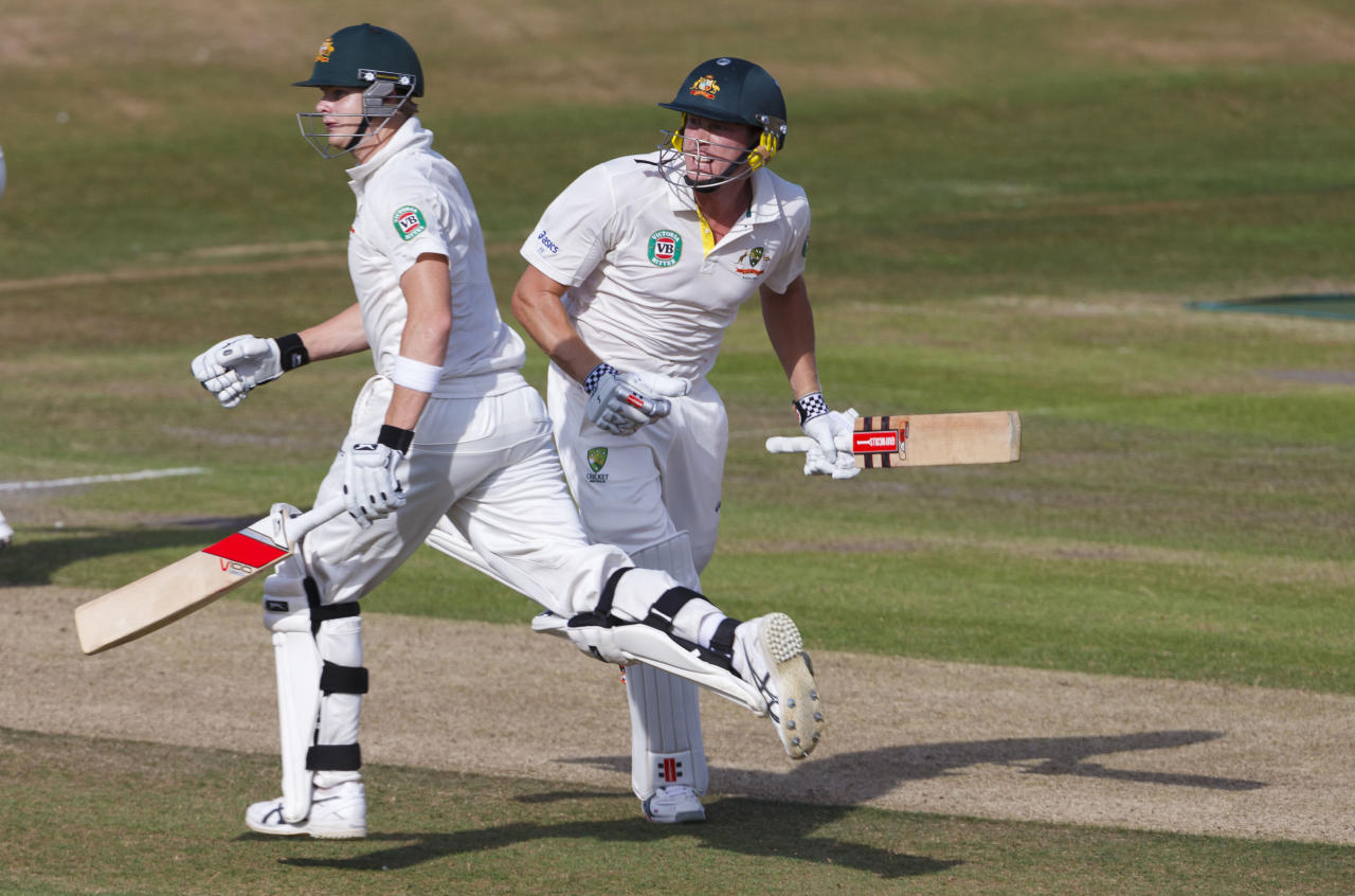 Australia's Steve Smith (left) and James Faulkner running between the wickets during day one of the international tour match at the BrightonandHoveJobs.com County Cricket Ground, Hove.