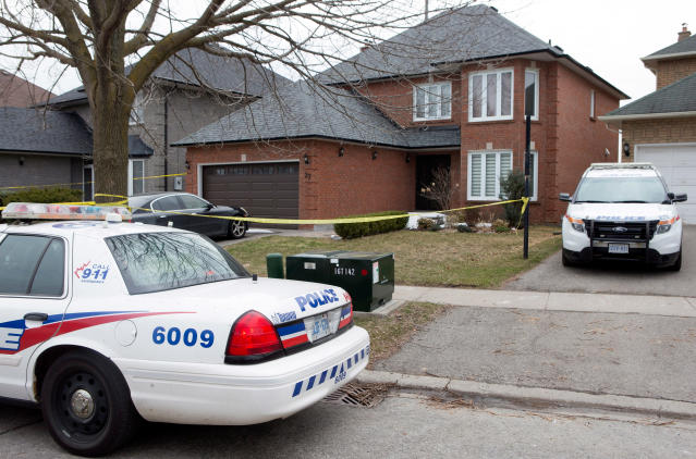 <p>Police cars remain parked outside of of the Toronto area home of Alek Minassian in Richmond Hill, Ont., on Tuesday, April 24, 2018. (Photo: Chris Young/The Canadian Press via AP) </p>