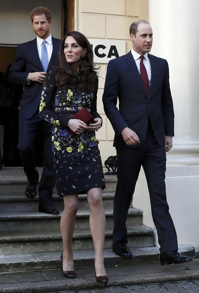 Britain's Prince William, Kate Duchess of Cambridge and Prince Harry leave the Institute of Contemporary Arts in central London, Britain January 17, 2017. REUTERS/Stefan Wermuth