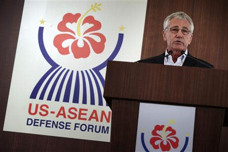 U.S. Secretary of Defense Hagel speaks during the closing news conference at a meeting of ASEAN defense ministers in Honolulu