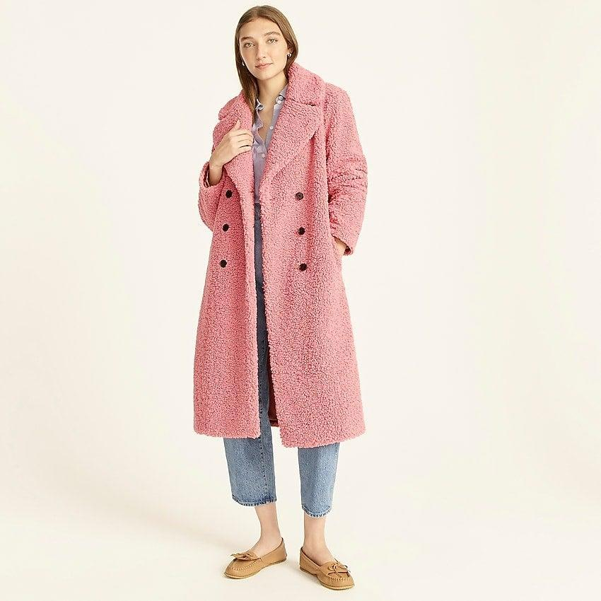 """<br><br><strong>J. Crew</strong> Double-breasted teddy sherpa topcoat, $, available at <a href=""""https://go.skimresources.com/?id=30283X879131&url=https%3A%2F%2Fwww.jcrew.com%2Fp%2Fwomens%2Fcategories%2Fclothing%2Fcoats-and-jackets%2Ffaux-fur%2Fdouble-breasted-teddy-sherpa-topcoat%2FBA528%3Fdisplay%3Dstandard%26fit%3DClassic%26color_name%3Dwarm-rose%26colorProductCode%3DBA528"""" rel=""""nofollow noopener"""" target=""""_blank"""" data-ylk=""""slk:J. Crew"""" class=""""link rapid-noclick-resp"""">J. Crew</a>"""