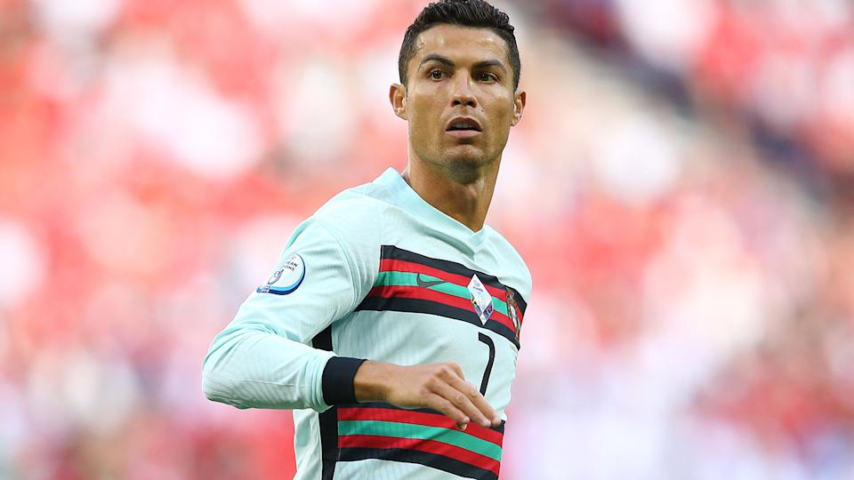 Cristiano Ronaldo, pictured here in action for Portugal against Hungary at Euro 2020.