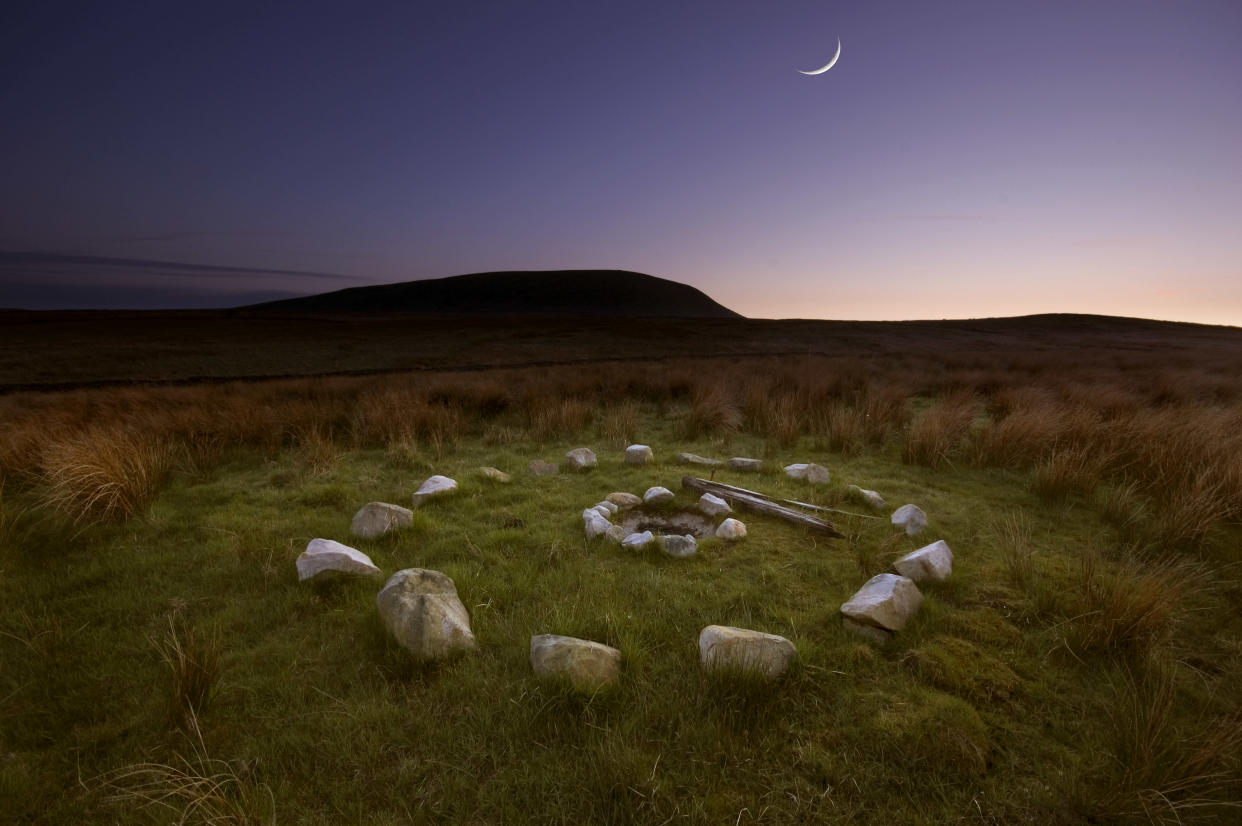 Pendle Hill in Lancashire is a place surrounded by myths and legend, stories of the Pendle witches draw thousands of pagans to the hill every year. this stone circle is most likely a remnant of a pagan ceremony performed under a new moon in the shadow of Pendle.