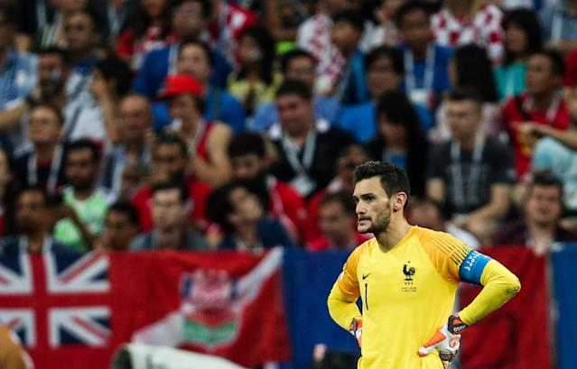 France's goalkeeper Hugo Lloris (front) in the final football match of FIFA World Cup Russia 2018 between France and Croatia at Luzhniki Stadium. Mikhail Tereshchenko/TASS (Getty Images)