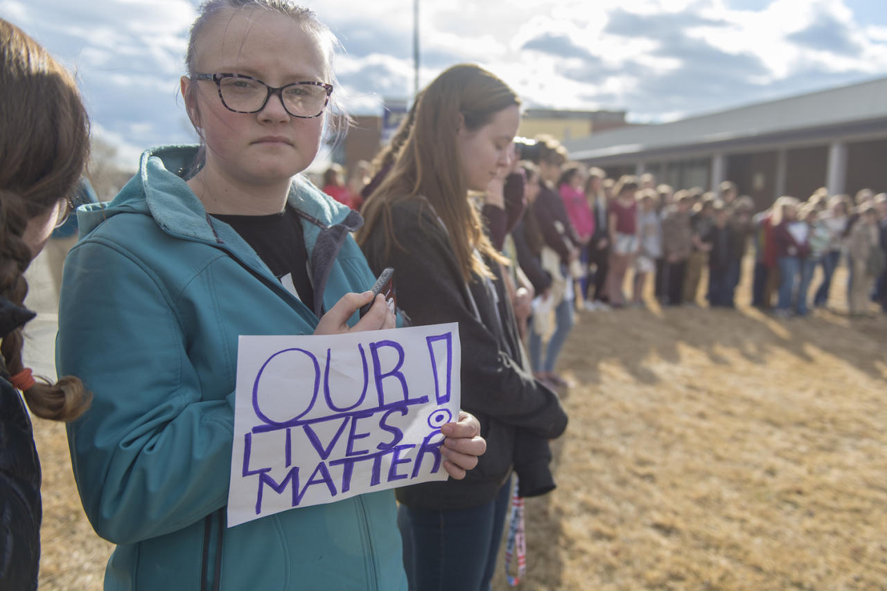 <p>Students from Park High School and Sleeping Giant Middle School in Livingston, MT take part in a national walkout to protest gun violence. <br /> (Photo: Getty Images) </p>