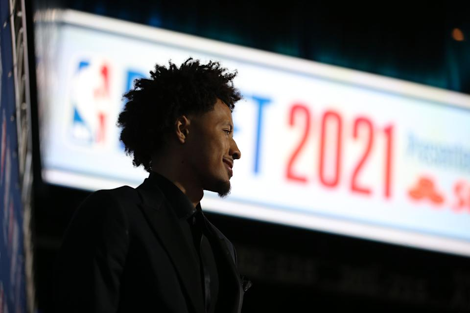 Cade Cunningham arrives at the 2021 NBA draft where the Detroit Pistons selected him with the No. 1 overall pick. (Brad Penner/USA TODAY Sports)