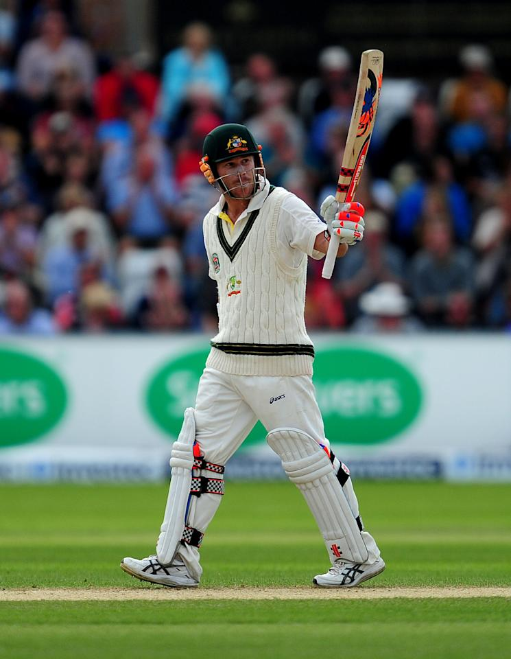 Australia's David Warner celebrates his half century during day four of the Fourth Investec Ashes test match at the Emirates Durham ICG, Durham.