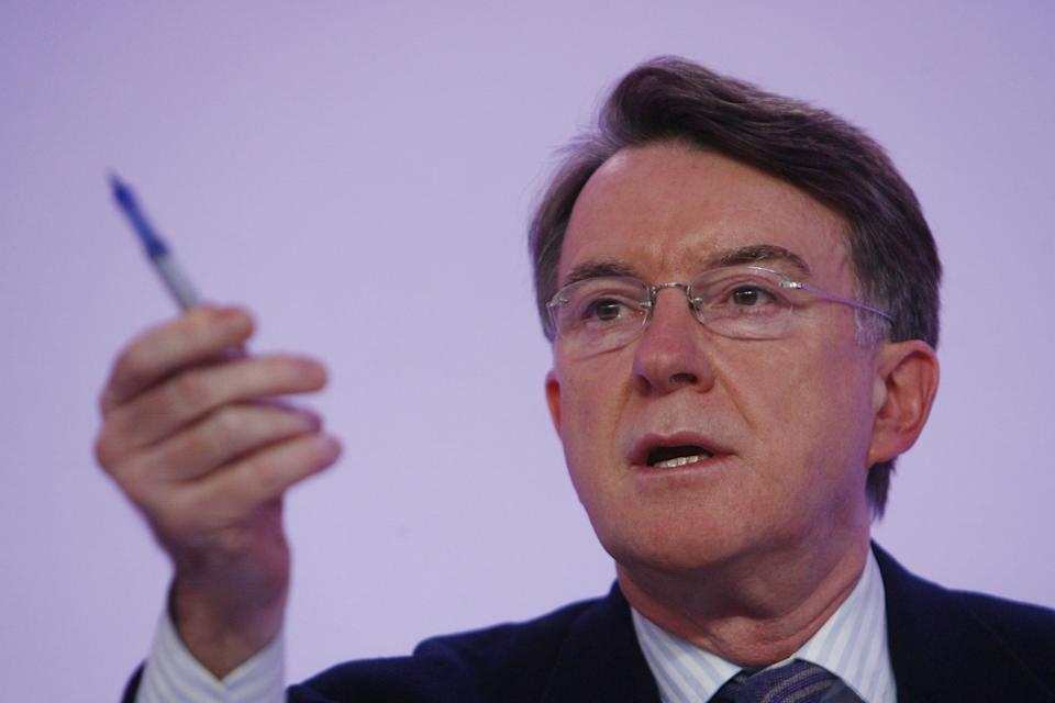 Lord Mandelson, Labour's Chair of Election Strategy, hosts a press conference at Labour Party Headquarters in Westminster, central London.