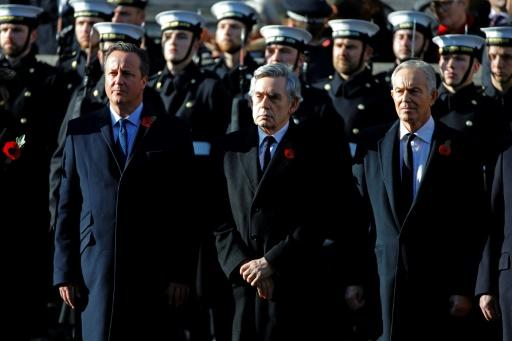 In an exceptional move, ex-Labour party leaders Tony Blair (R, pictured November 2019 at a Remembrance Sunday ceremony) and Gordon Brown (C) joined Prime Minister Boris Johnson's Conservative predecessor David Cameron (L) in criticising the plan