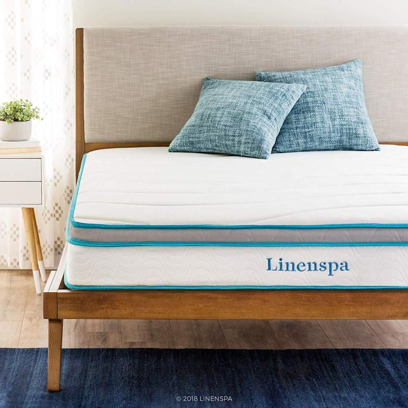Linenspa 8 Inch Memory Foam and Innerspring Hybrid Mattress. (Photo: Amazon)