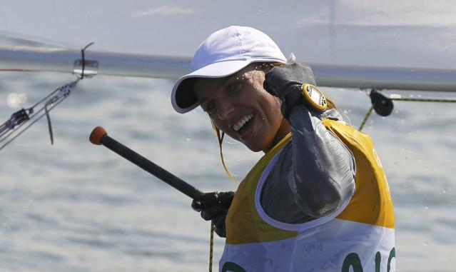 2016 Rio Olympics - Sailing - Final - Women's One Person Dinghy - Laser Radial - Medal Race - Marina de Gloria - Rio de Janeiro, Brazil - 16/08/2016. Marit Bouwmeester (NED) of Netherlands celebrates gold medal. REUTERS/Brian Snyder FOR EDITORIAL USE ONLY. NOT FOR SALE FOR MARKETING OR ADVERTISING CAMPAIGNS. TPX IMAGES OF THE DAY