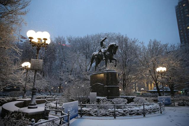 <p>A statue of George Washington in Union Square Park, New York City, is covered with snow as a winter storm hits the area on March 7, 2018. (Photo: Gordon Donovan/Yahoo News) </p>