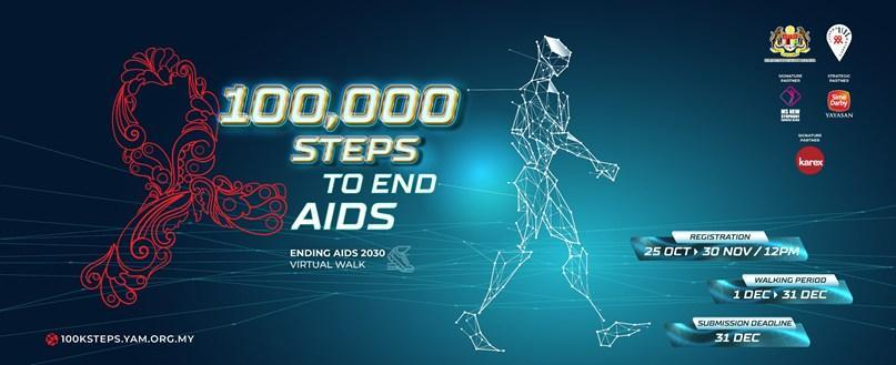 Malaysian AIDS Foundation's (MAF) 100,000 Steps to End AIDS virtual walk promotion leaflet. — Picture courtesy of MAF