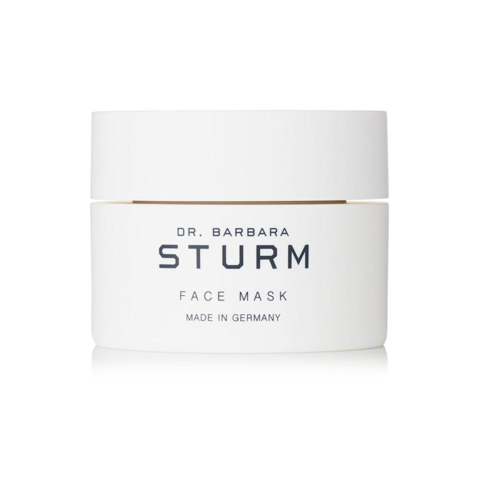"<p>Once the Angels' skin is completely cleansed, the next step is this uber-hydrating mask from Dr. Barbara Sturm, a celeb-favorite brand. The rich cream is packed with a ton of smoothing, moisturizing ingredients like aloe vera, vitamin E and chamomile, to name a few. </p><p>Buy it <a rel=""nofollow"" href=""https://click.linksynergy.com/fs-bin/click?id=93xLBvPhAeE&subid=0&offerid=627006.1&type=10&tmpid=6894&RD_PARM1=https%3A%2F%2Fwww.net-a-porter.com%2Fus%2Fen%2Fproduct%2F822756&u1=IS%2CYes%2Cit%27sPossibletoMakeYourSkinasGlowyasTheVictoria%27sSecretAngels%2Clukase%2CBEA%2CGAL%2C3390526%2C201811%2CT"">here</a> for $160.</p>"